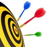 Darts hitting the target royalty free illustration