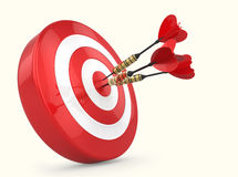 Darts Hitting The Target. Red and white Target and Durts isolated on white. Success Stock Image