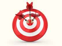 Darts Hitting The Target. Red and white Target and Durts isolated on white. Success Royalty Free Stock Photo