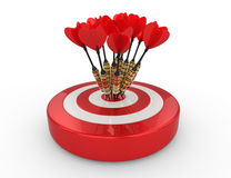 Darts Hitting The Target. Red and white Target and Durts isolated on white. Success. Like bouquet of flowers Royalty Free Stock Photo