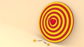 Darts hitting in the target heart. 3d render,love concept and pop art color Stock Photos