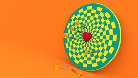 Darts hitting in the target heart. 3d render,love concept and pop art color Stock Photo