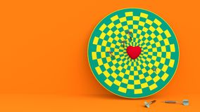 Darts hitting in the target heart. 3d render,love concept and pop art color Royalty Free Stock Images