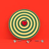 Darts hitting in the target heart. 3d render,love concept and pop art color Royalty Free Stock Photography
