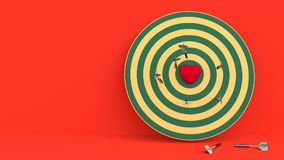 Darts hitting in the target heart. 3d render,love concept and pop art color Stock Image