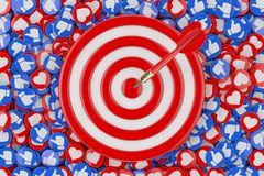 Darts Hitting The Target over Heap of Social Media Network Love and Like Heart Badges Coins Background Texture. 3d Rendering. Darts Hitting The Target over Heap vector illustration