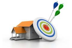 Darts on house target Royalty Free Stock Photos