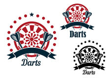 Darts icons with arrows and dartboard. Darts game icons of arrows with striped fletching and dartboards, decorated by stars, dots and ribbon banners Royalty Free Stock Image