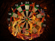 Darts In Flame Stock Photos