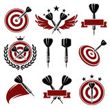 Darts labels and icons set. Vector Royalty Free Stock Photos