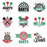Darts Labels and Icons Set. Vector Illustration. Darts sports emblems and symbols with crossed darts, target for sporting design Stock Images
