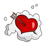 Darts of love. Heart wounded by arrow on a cloud stock illustration