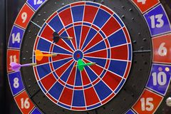 Darts. Missiles darts in a plastic dartboard Royalty Free Stock Photography