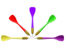 Darts placed on white background Royalty Free Stock Photos