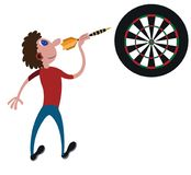 Darts player with dart. A player ready to throw a dart vector illustration