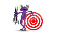 Darts playing frog Royalty Free Stock Image