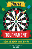 Darts poster. Colorful vector poster template for darts tournament. Flat style vector illustration
