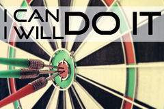 Darts with quote - I can do it. I will do it. Stock Photo
