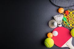 Darts, Racket table tennis, ping pong ball, Shuttlecocks, Badmin Royalty Free Stock Photo