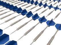 Darts rectangular array. 3D render illustration of multiple darts arranged in a rectangular array Stock Photo