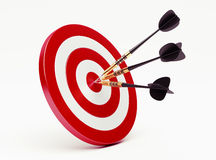 Darts on red target Royalty Free Stock Photography