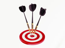 Darts on red target Royalty Free Stock Photo