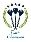 Darts shampion sporting emblem. Sporting emblem or logo with darts, laurel wreath and text - Darts Champion, suitable for sport and heraldry design Stock Images