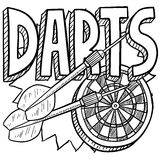 Darts sketch. Doodle style darts sports illustration. Includes text, dartboard, and darts Stock Photo