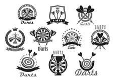 Darts sport award or victory vector icons set Stock Photos