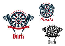 Darts sport game emblems and symbols Stock Photos
