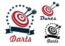 Darts sporting symbols and emblems Stock Photography