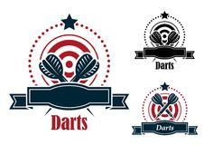 Darts sports emblems with banners Stock Image