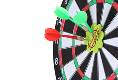 Darts with stickers depicting the life values Stock Photos