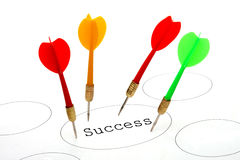 Darts on success target Royalty Free Stock Image