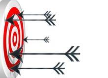 Darts at a target. Many darts / dart icons shot at target Royalty Free Stock Image