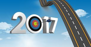 Darts target as 2017 against composite image 3D of bumpy road in sky Royalty Free Stock Photos