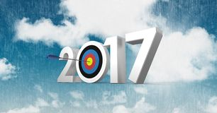 Darts target as 2017 against a composite image 3D of clouds and sky Royalty Free Stock Photos