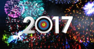 Darts target as 2017 against composite image 3D of fireworks. At night Royalty Free Stock Photography