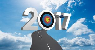 Darts target as 2017 against a composite image 3D of road leading towards sky Stock Photography