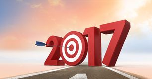 Darts target as 2017 on composite image 3D of road. In sky Royalty Free Stock Photos