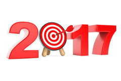 Darts Target as 2017 year Sign. 3d Rendering. Darts Target as 2017 year Sign on a white background. 3d Rendering Stock Photography
