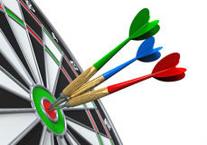 Darts on Target Close-up. Isolated on white background. 3D render Royalty Free Stock Image