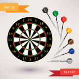 Darts Target and darts, vector illustration on Royalty Free Stock Photo