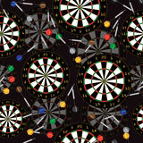 Darts Target and darts vector seamless background. Royalty Free Stock Images
