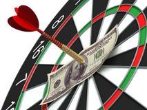 Darts target and 100 dollars Royalty Free Stock Photo