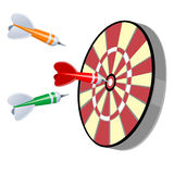 Darts and target. Darts Hitting a Target, Isolated On White Background. Vector Illustration. Colorful darts hitting a target stock illustration