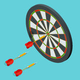 Darts target icon. Darts arrows in the target center. Darts target flat 3d isometric vector illustration. Darts target icon. Darts arrows in the target center vector illustration
