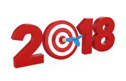 2018 with Darts Target Isolated. On white background. 3D render Royalty Free Stock Photography
