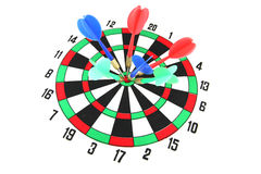 Darts on Target of isolated. Stock Photo