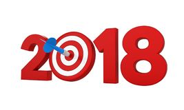 2018 with Darts Target Isolated. On white background. 3D render Stock Image